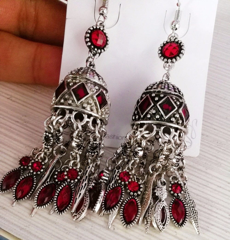 Indian Earrings Unique Vintage Long Drop [La mejor tienda étnica en línea asequible] - Unusual Trendy