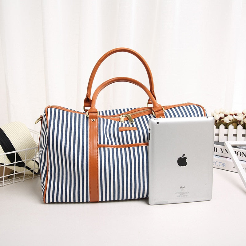 Leather Travel Bag for women Fashion Striped