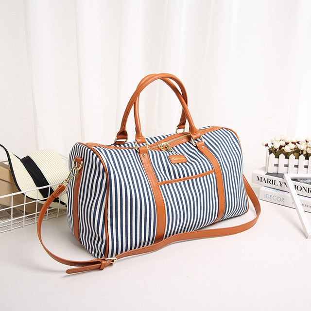 Leather Travel Bag for women Fashion Striped boho gifts