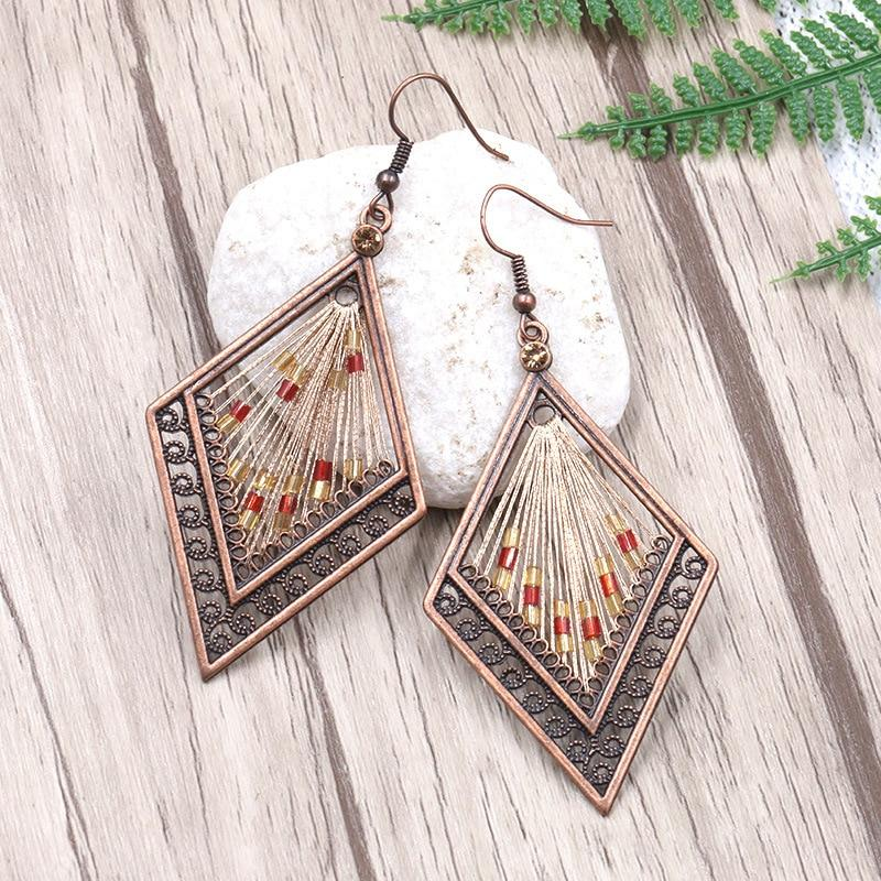 Boho droppe örhängen etniska geometriska [The Best Affordable Online Ethnic Shop] - Unusual Trendy