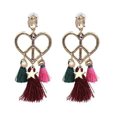 Drop Crystal Charm Boho Earrings [The Best Affordable Online Ethnic Shop] - Unusual Trendy
