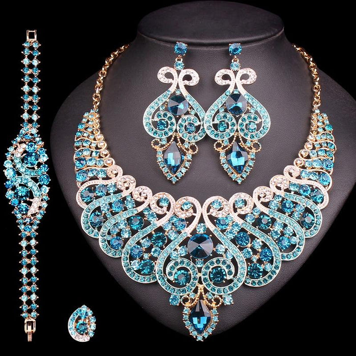 Jewelry Set Wedding Style Necklace Earrings Ring Bracelet [The Best Affordable Online Ethnic Shop] - Unusual Trendy