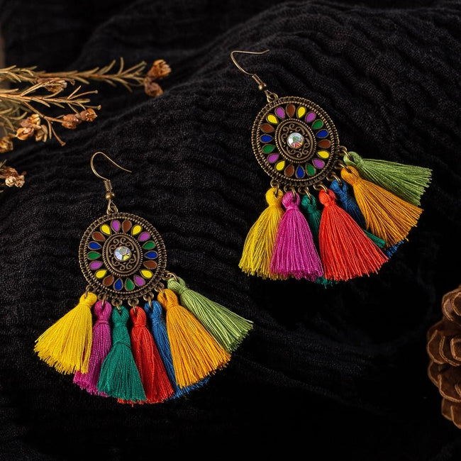 Colorful earrings Vintage bohemian boho ethnicity [The Best Affordable Online Ethnic Shop] - Unusual Trendy