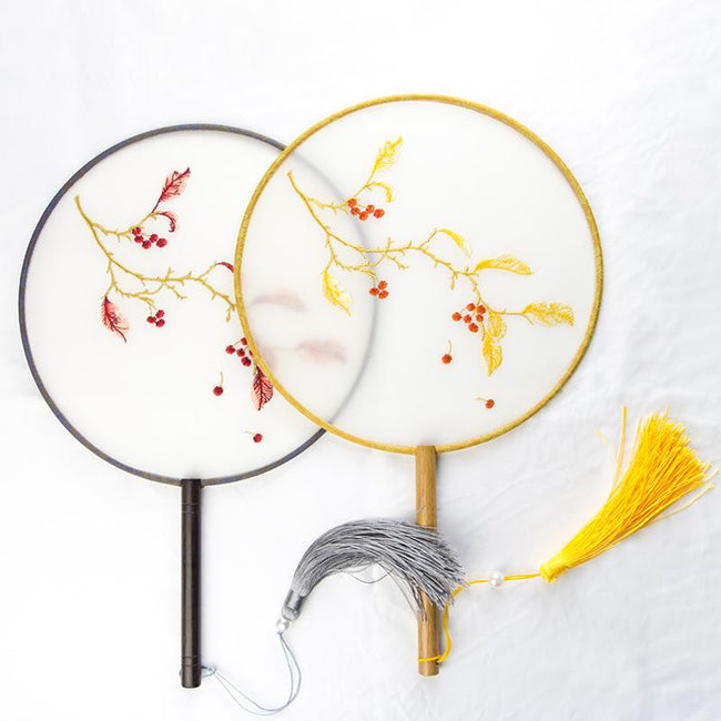 Chinese Round Embroidery Wooden Fan