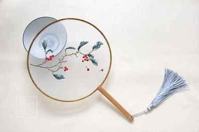 Chinese Round Embroidery Wooden Fan [The Best Affordable Online Ethnic Shop] - Unusual Trendy