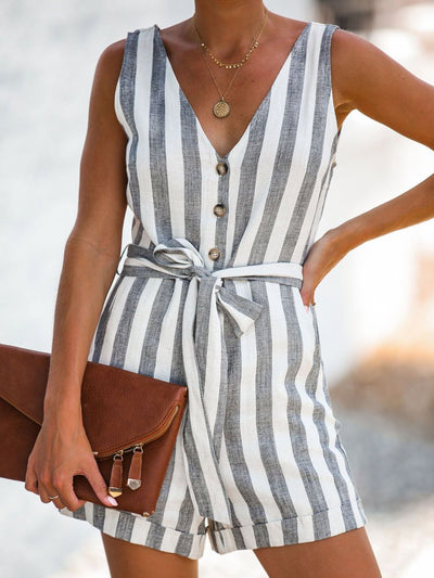 Gray Sleeveless Linen Shift One-Pieces