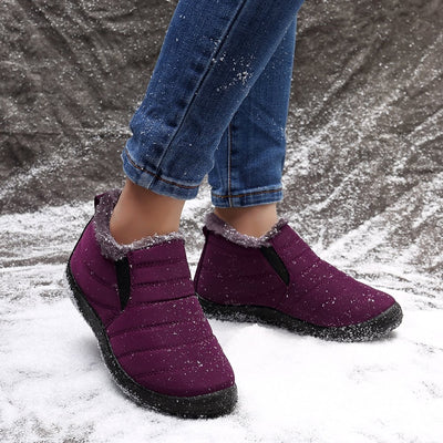 Waterproof Warm Lining Casual Winter Snow Slip On Ankle Boots