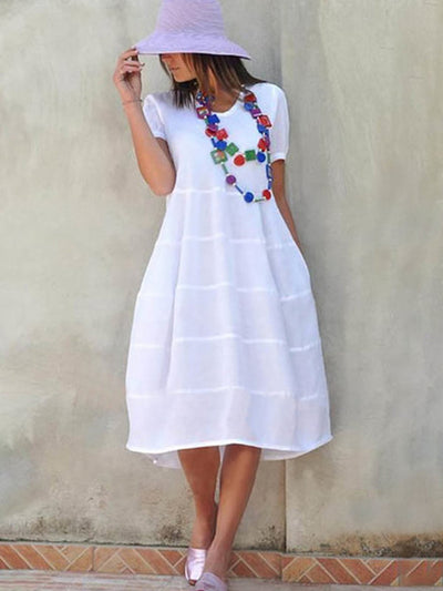Short Sleeve Knee-Length A-line Dress