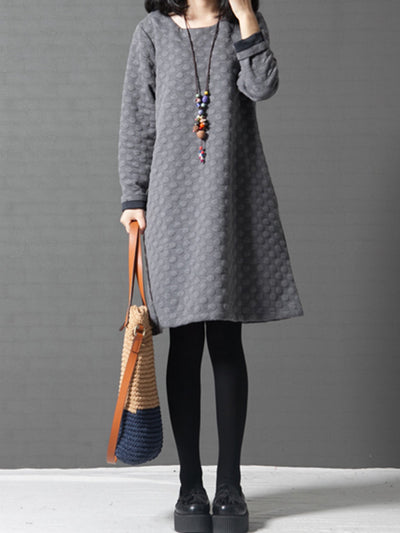 Plus Size Women  Shift Daily Cotton Long Sleeve Casual  Polka Dots Dress