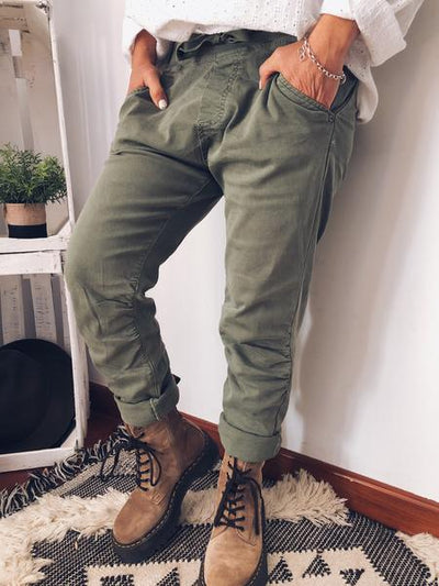 Cotton-Blend Casual Pockets Pants