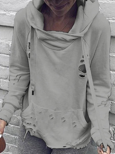 Hoodie Casual Cotton Plain Shirts & Tops