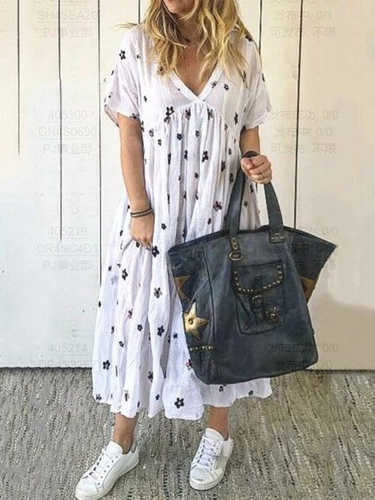 Short Sleeve V Neck Cotton Dresses