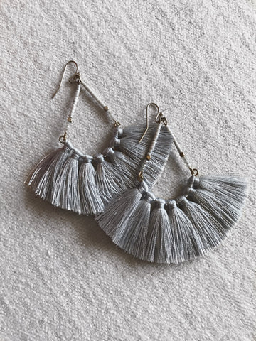 Gray tassel earrings from Southern Seoul Accessories