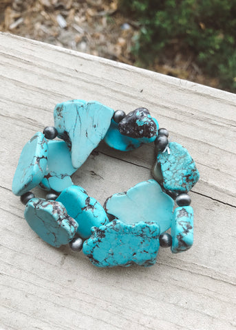 Layered boho stone bracelet with chunky turquoise beads from Isac Trading Accessories