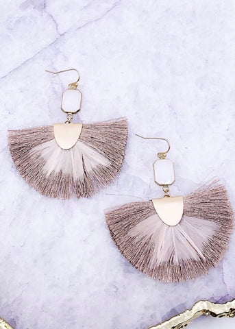 Taupe tassel and feather earrings with a gold hook backing from Southern Seoul Accessories