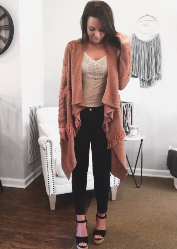 Draped Cable Knit Fringe Cardigan - Magnolia Boutique