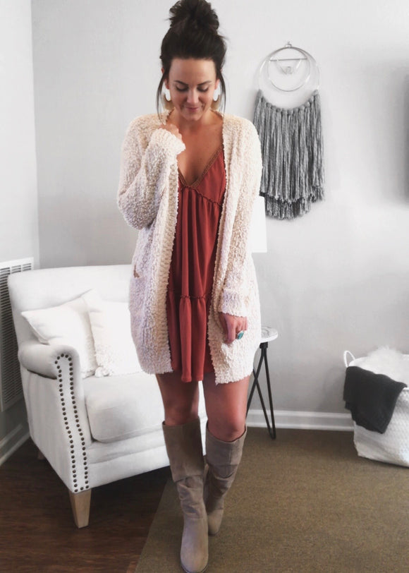 Champagne Kisses Popcorn Pocket Cardigan from Magnolia Boutique