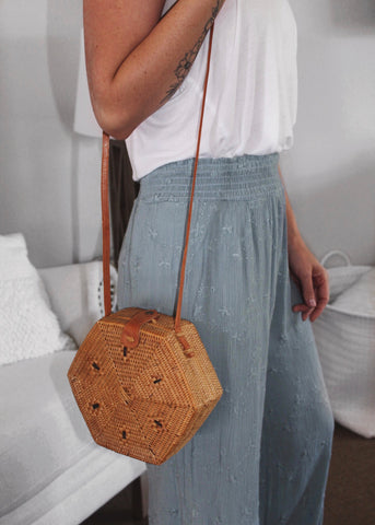 On The Border Bamboo Woven Crossbody Bag from Vici Dolls
