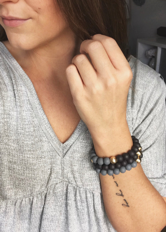 Black and Gray Wooden Bead Bracelet Set