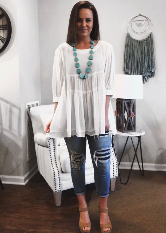 3/4 Sleeve Tiered Tunic