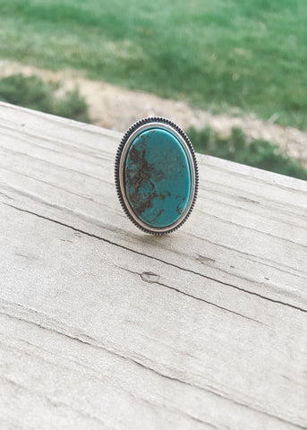 Oversized oval turquoise silver ring from Isac Trading