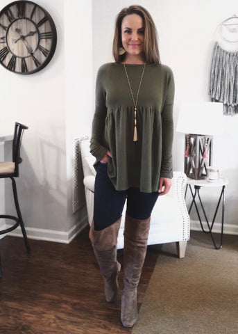 Olive Juice So Much Peplum Knit Long Sleeve