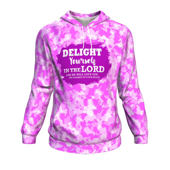 Christian AOP Hoodie, Delight Yourself In The Lord (Psalm 37:4)