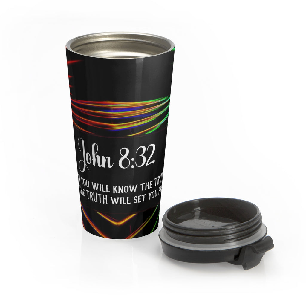 Christian Travel Mug 15 oz (John 8:32, Then You Will Know The Truth)