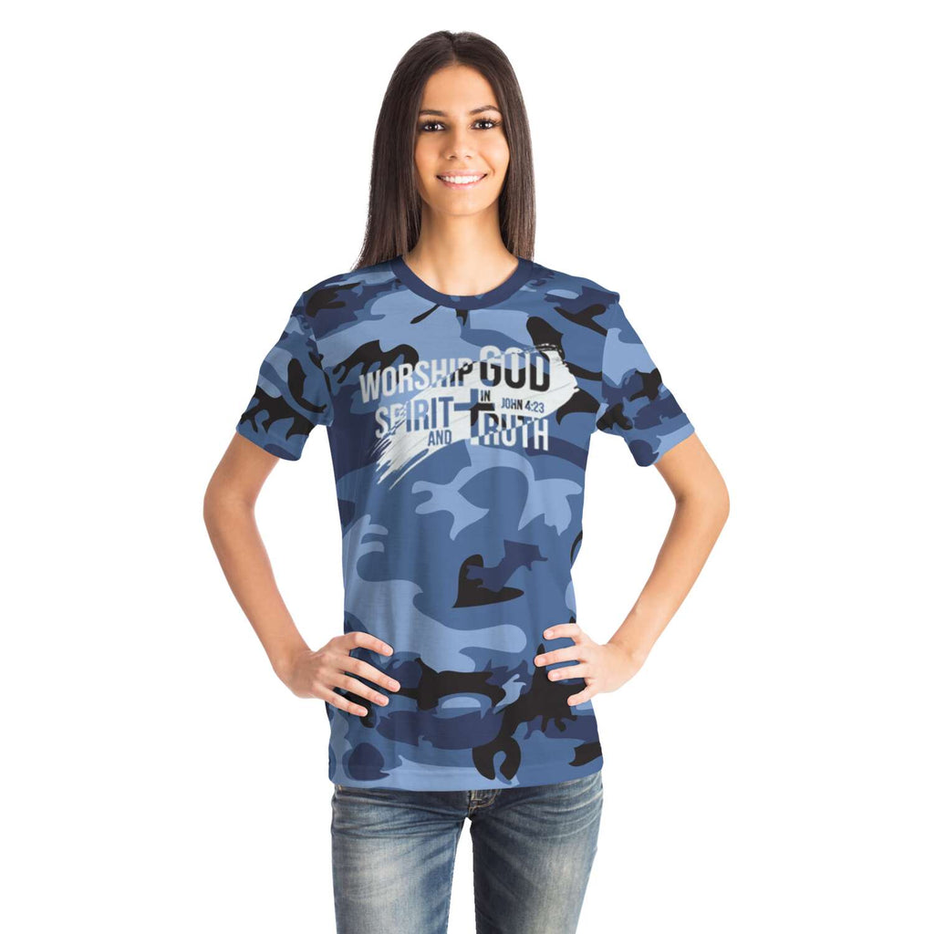 Women's Camouflage AOP Tee (Worship God In Spirit and In Truth)