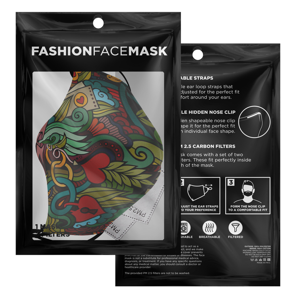 Fashion Face Mask (Love Doodle D1) - 5 Layers
