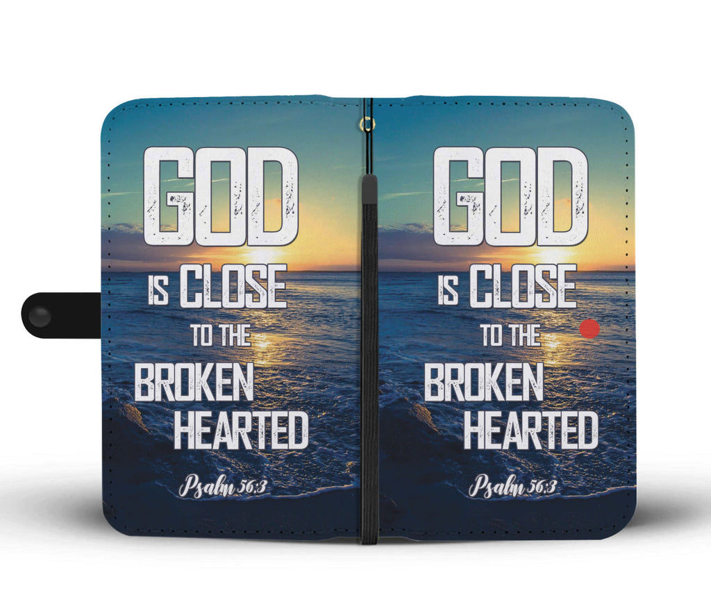 Christian Wallet Phone Case - Scripture Phone Case - Iphone Case - Samsung Case - God Is Close To The Broken Hearted (Psalm 56:3)