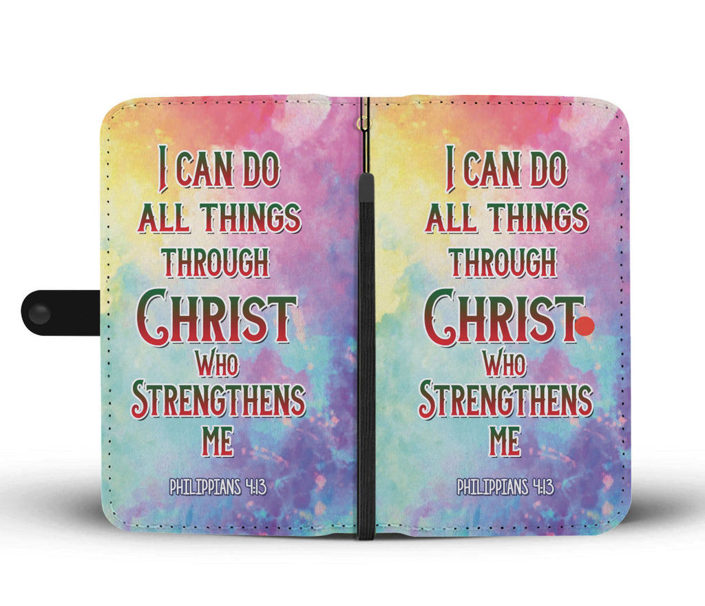 Christian Wallet Phone Case - I Can Do All Things Through Christ Who Strengthens Me (Philippians 4:13)