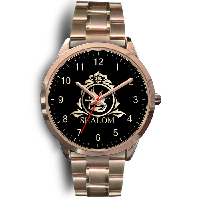Christian Rose Gold Watch, Shalom and Dove