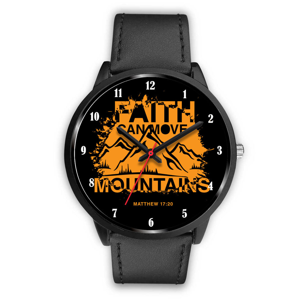 Christian Black Watch - Faith Can Move Mountains, Unisex Watch