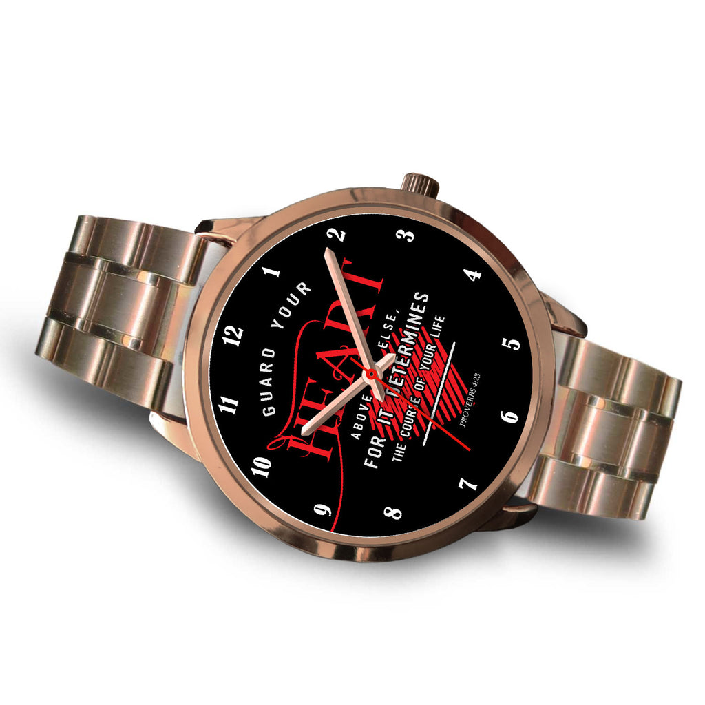 Christian Rose Gold Watch, Guard Your Heart Above All Else (Proverbs 4:23)
