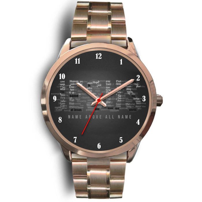 Christian Rose Gold Watch, Jesus Name Above All Name