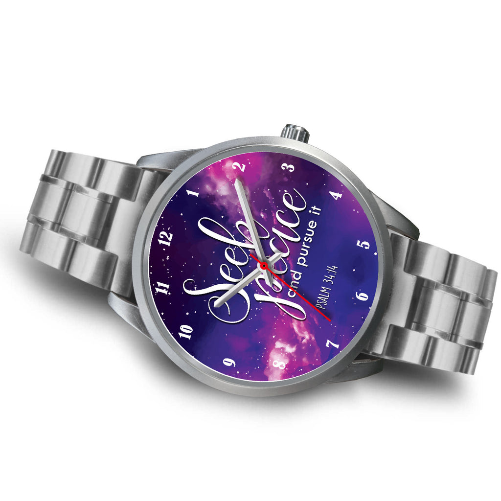 Christian Silver Watch, Seek Peace and Pursue It