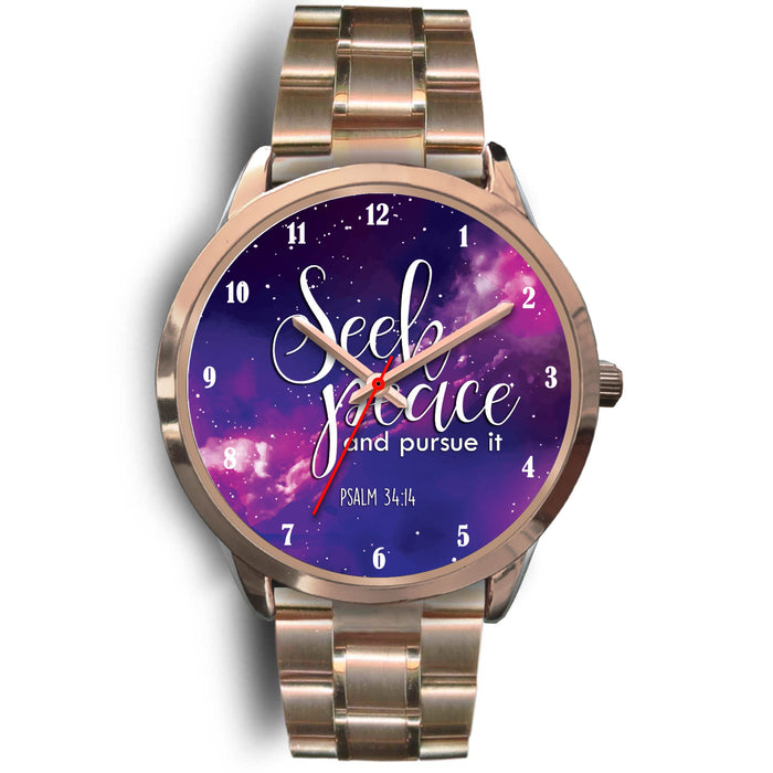 Christian Rose Gold Watch, Seek Peace and Pursue It