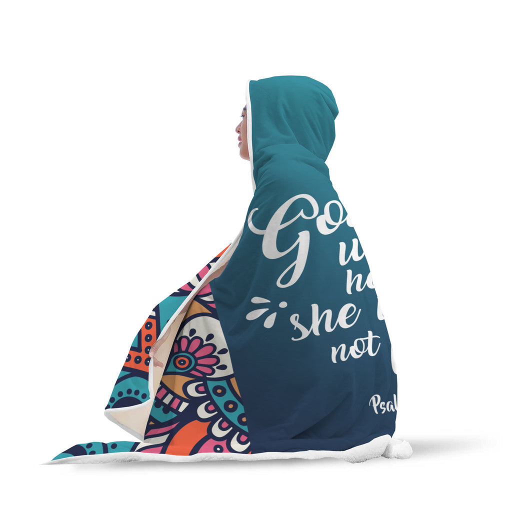 Christian Hooded Blanket - God Is Within Her, She Will Not Fail (Psalm 46:5)
