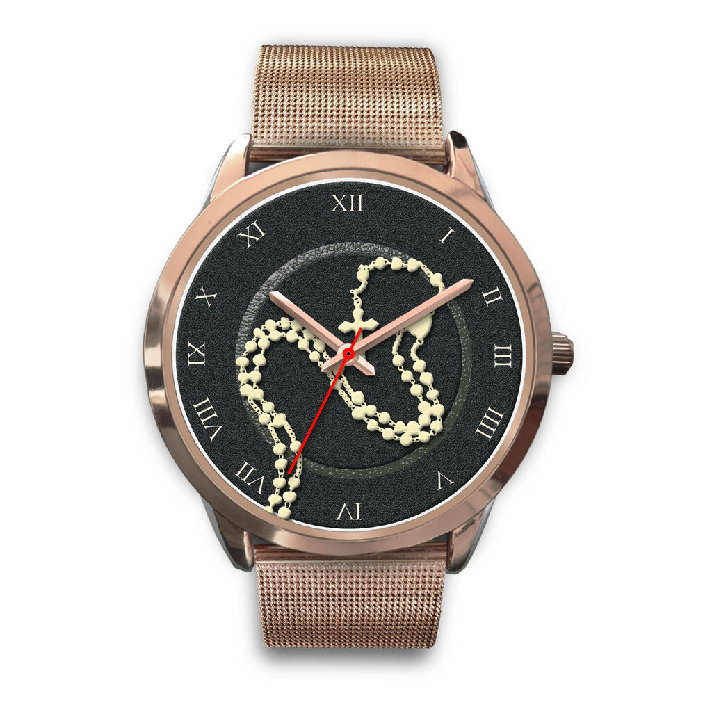 """Holy Rosary"" Rose Gold Watch"