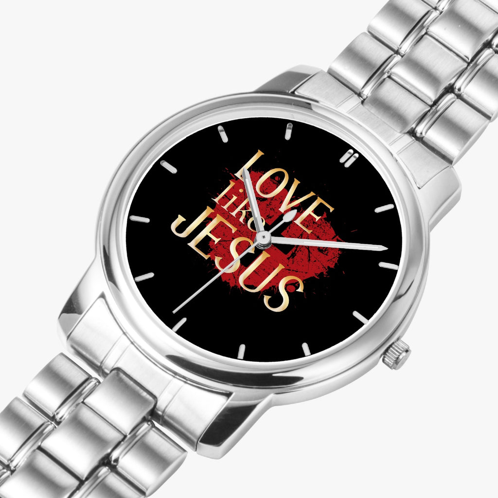 Love Like Jesus Stainless Steel Quartz Watch (Folding Clasp Type) - Christian Unisex Watch