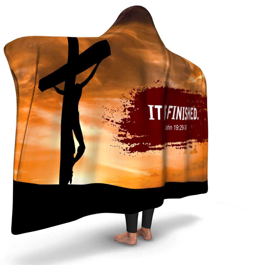 Christian Hooded Blanket - It Is Finished, Scripture and Quotes Outdoor Blanket, Festival and Couch Blanket