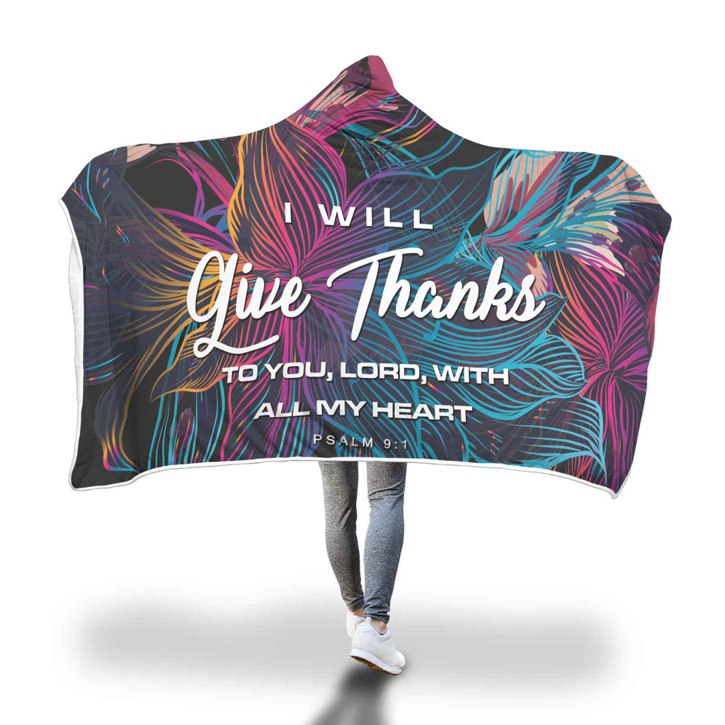 In Everything Give Thanks Hooded Blanket
