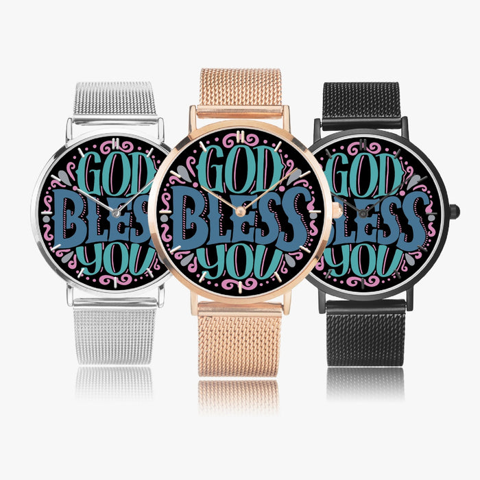 GodBlessYou Fashion Ultra-thin Stainless Steel Quartz Watch - Christian Unisex Watch