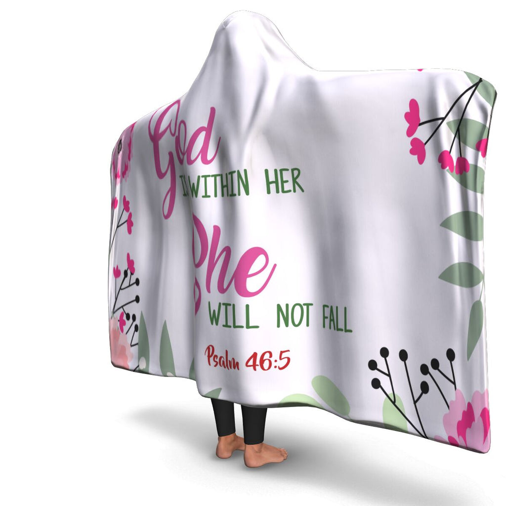 Christian Hooded Blanket - God Is Within Her, Scripture and Quotes Outdoor Blanket, Festival and Couch Blanket