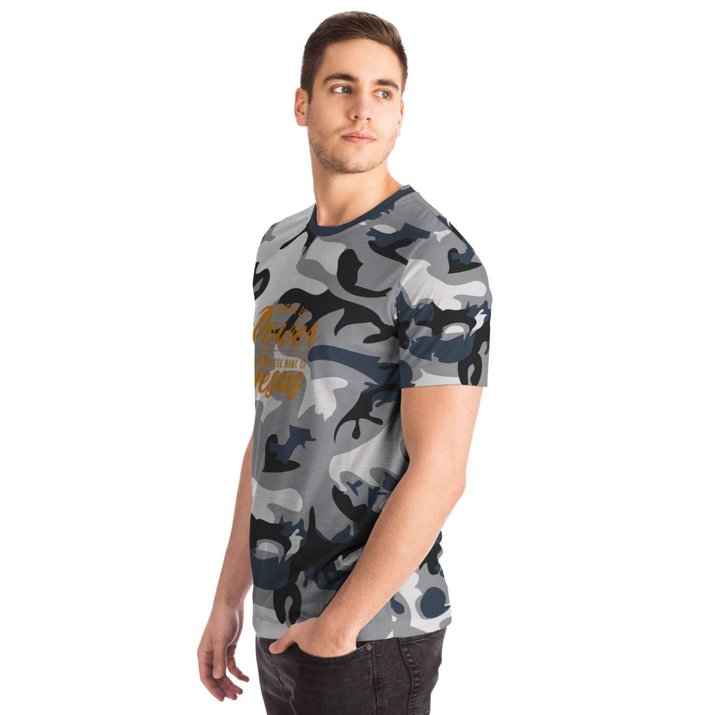 Men's Camouflage AOP Tee (There Is Power In The Name Of Jesus)