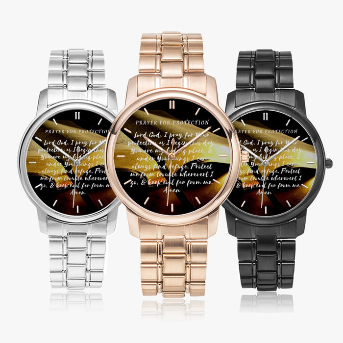 Prayer For Protection Stainless Steel Quartz Watch (Folding Clasp Type) - Christian Unisex Wristwatch