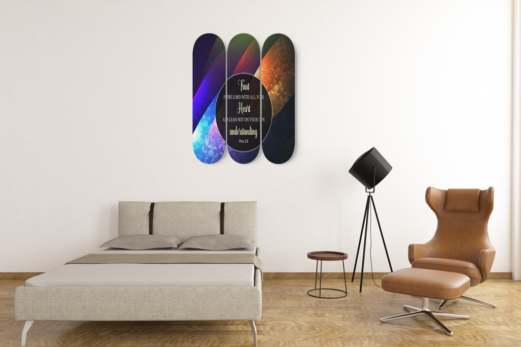 Christian Skateboard Wall Decor - 3 Skateboard Wall Decor - Trust In The Lord With All Your Heart and Lean Not On Your Own Understanding (Proverbs 3:5)