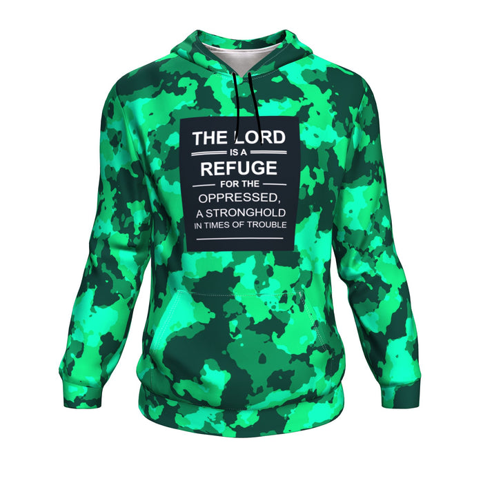 Christian AOP Hoodie, The Lord Is The Refuge For The Oppressed (Psalm 9:9-10)