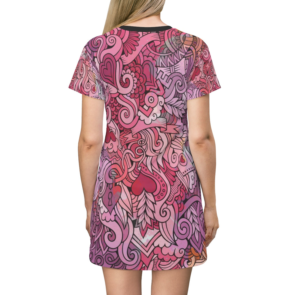 Love All Over Print T-Shirt Dress, AOP Women Shirt Dress, Valentine Doodle Graphic Shirt Dress